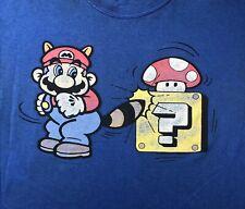 SUPER MARIO 3 Raccoon Mario Mushroom Vintage 02 T-Shirt L Nintendo Tanooki G15