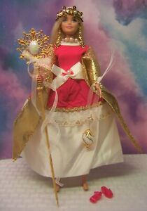 """Barbie """"The Far Side of the Sun Queen"""" Raspberry White Gown OOAK Accessories"""