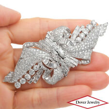 Antique Deco 12.88ct Diamond Platinum Floral Cluster Long Pin Brooch 31.6 Gr NR