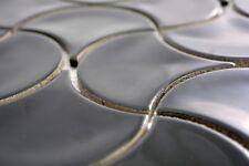 Mosaïque carreau éventail céramique noir brillant vague 13-FSW03_b | 1 plaque