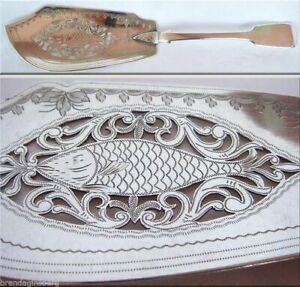Victorian Fish Slice  Server Sterling Silver openwork London 1847 Antique (4309)