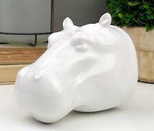 White Hippo Faux Taxidermy Porcelain Wall Planter Modern Farmhouse Decor Rare