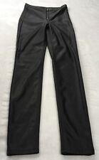 Divided H&M Size 6 Faux Vegan Leather Black Skinny Pants Front Exposed Zipper