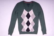 Tommy Hilfiger Damen V-Neck Pullover Sweater Grün Größe XS