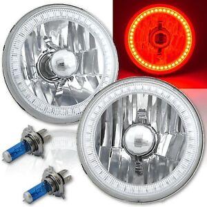5-3/4 SMD Red LED Halo Halogen Bulb Headlight Angel Eye Crystal Clear Pair