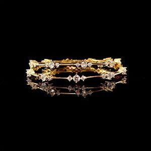 Fashion cubic Zirconia White Stone Yellow Gold Plated Bangle 12 WBN 43