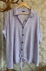 M&Co Top Blouse Tie Front Shirt Lilac White Pinstripe BNWOT Size 26