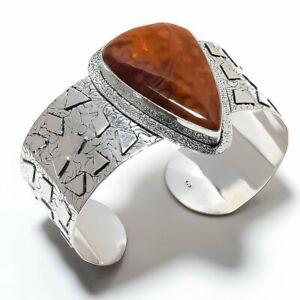 Ocean Jasper Gemstone Handmade 925 Sterling Silver Cuff Bracelet Adjustable q722