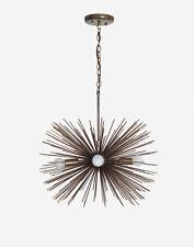 Mid century 5 Bulbs Antique Brass Sphere Urchin Chandelier Light Fixture