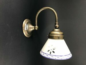 Wall Light Brass Antiqued Adjustable With Ceramics White Blue E14