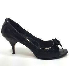 CHLOE Black Leather Ribbon Trim Open Toe Heels Pumps w/ Box 40 or 10