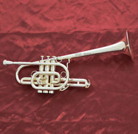 Professional Brand new Marching Trumpet Silver plated horn Monel valve With Case