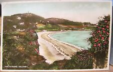 Irish Postcard Killiney Strand Dublin Ireland Handcolored 1938 Use Telephone pmk