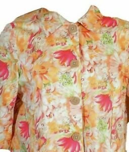 Coldwater Creek petite large blazer white pink gold floral unlined jacket pretty