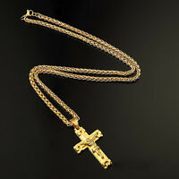 High Quality Men's 18K Gold Plated Cuban Chain Jesus Cross Pendant Necklace