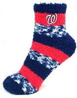 Washington Nationals Red & Navy RMC Pro Stripe Fuzzy Socks