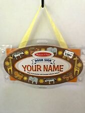 Melissa & Doug Safari Door Sign /Plaque Personalize With Adhesive Letters New