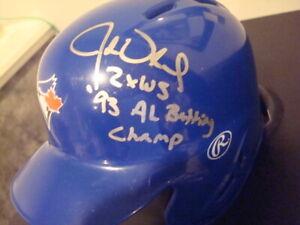 John Olerud  AUTOGRAPHED TORONTO BLUE JAYS Mini Helmet SIGNED 92 & 93 WS CHAMPS