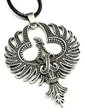 Phoenix Pendant Mythical Spiritual Fire Bird Rebirth Dark Pewter Cord Necklace
