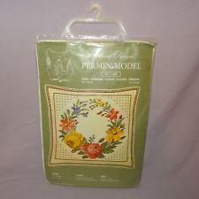 Vintage Permin Model Cross Stitch Kit Danish Design 87 1408 Flowers Cushion