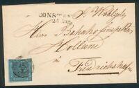 Baden Brief eines Bahnhofinspektors mit Mi.-Nr.8 Constanz-Friedrichhafen