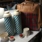 Vintage 1963 Buffalo Plaid Bag Set 2 Thermos In Case Picnic Camping