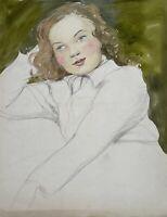 Charlotte Zurek 1910-1971 Ritratto Piuttosto Giovane Donna Bambina Acquerello