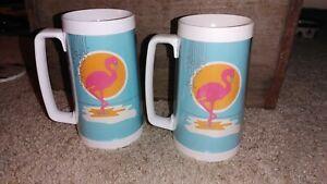 """Vintage 1980s Plastic Pink Flamingo Tankard Mug Glasses Pair 6.5"""" Never Used"""