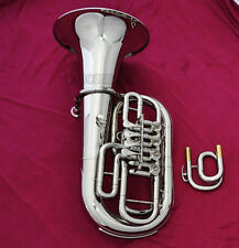 Professional C/Bb Key Euphonium Silver nickel 4 Rotary valve Horn with Case