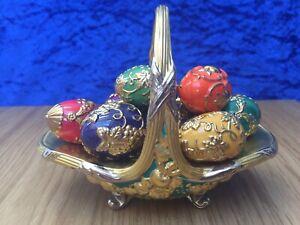 FRANKLIN MINT Fabergé Porcelain & 22ct Gold  'Autumn' Egg Basket with 9 Eggs VGC