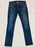 BIG STAR Womens 27R Kate Dark Wash Straight Leg Distressed Denim Jeans Pants