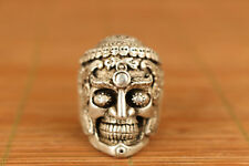 chinese Tibet Silver hand carving Skull statue figure Ring