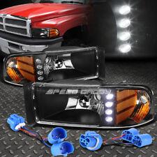 BLACK HOUSING LED DRL 1PC CLEAR HEADLIGHT+CORNER LIGHT FOR 94-02 DODGE RAM/SPORT