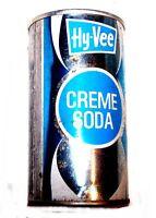 Hy-Vee Creme Soda Steel Pull Tab Top Soda Pop Can A1+ Flat Beer Zip Sign Ofr