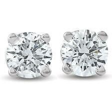 1/2Ct Diamante Corte Brillante Redondo Aretes En Oro Blanco O Amarillo 14K