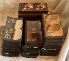 317 Antique STEREOVIEW CARDS & Viewer PALESTINE YELLOWSTONE AFRICA JAPAN++Boxes