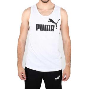 PUMA Mens Ess White Tank Top Regular Fit Essentials Sports Training Running Vest