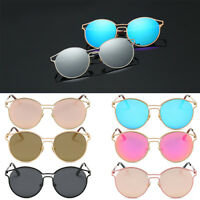 Women Retro Oversized Round Sunglasses Vintage Designer Mirrored Glasses Eyewear