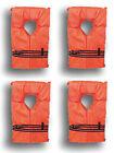 4 Pack Type II Orange Life Jacket Vest - Adult Universal Boating PFD