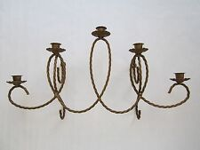 Homco Metal Rope Twist Candelabra Large Antique Gold Sconce Wall Plaque Display