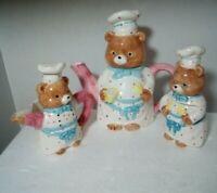 """TEDDY BEAR Chef Teapot,8 """" tall  sugar and creamer ceramic  6 inches tall cute."""