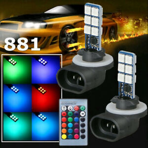 2× Multi-Color 881 5050 RGB LED 12SMD Car Headlight Fog Light Lamp Bulb + Remote
