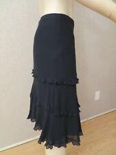 Free People Sz S Women's Black Tiered Silk Skirt Bohemian Lined NWOT $158