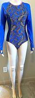COOLIBAR Swimsuit UPF 50+ One-Piece Light Blue w/ Paisley Pattern Long sleeve XS