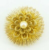 Vintage Round Gold Tone Brooch Pin Faux Pearl Center Intricate Detail Estate