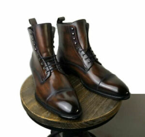 Handmade Men's Coffee Brown Color Derby Cap Toe Ankle High Toning Leather Boots