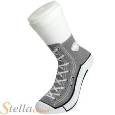 Grey Silly Socks Novelty Cotton Converse Trainers Sneakers Sock Gift Size 5-11