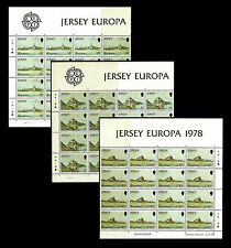 Jersey. Europa. 1978. Scott 187-189. Sheets of 4x4 stamps. Mnh