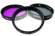 Zeikos 72mm Professional Glass Filter Kit UV /CPL /FLD ZE-FLK72-Slim Design