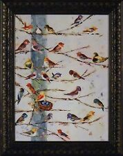 COMMUNITY by Ninalee Irani 16x20 FRAMED PRINT Song Birds Sitting Tree Branches
